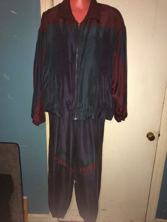 Vintage NWT Mens Silk Track Suit. Men's Silk Jack… - image 1