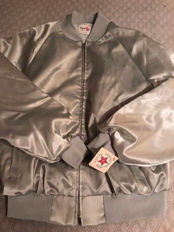 Vintage Satin Baseball Jacket. Silver Satin Baseb… - image 3