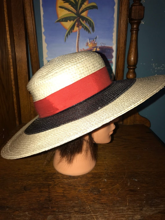 Vintage Red, White and Blue Hat. Straw Summer Hat… - image 1