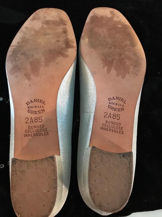 Vintage Silver Daniel Green Slippers. Metallic Si… - image 3