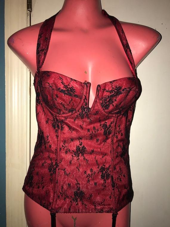 Vintage Lace Corset Lingerie. Black and Red Lace … - image 1