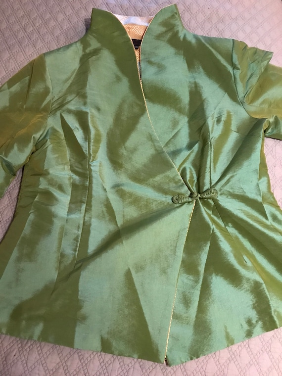 Vintage Green Asian Satin Jacket. Satin Jacket. A… - image 2