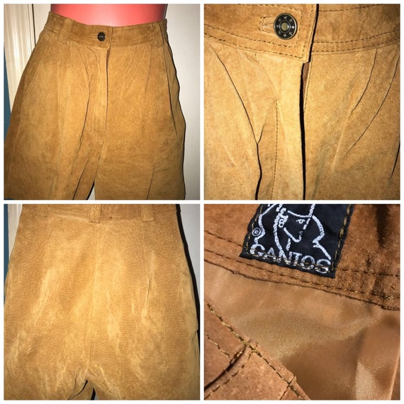 Vintage Suede Leather Shorts. 1980's High Waist Br