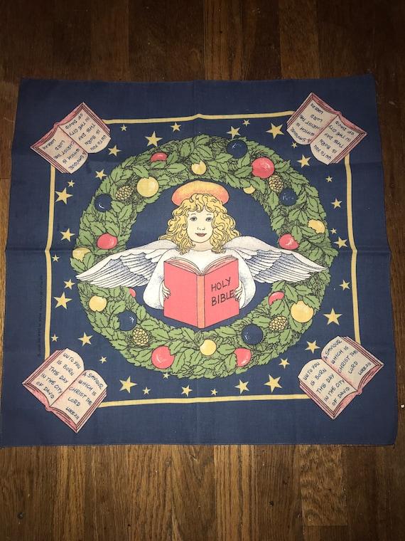 Vintage Christmas Bandana. Angel Bible Christmas B