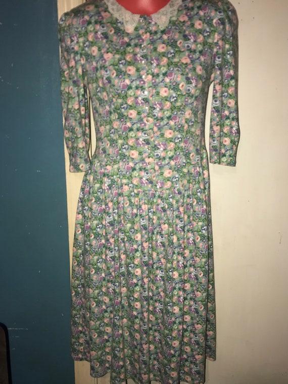 Vintage 80's Floral Dress. You Too Babes Green Flo