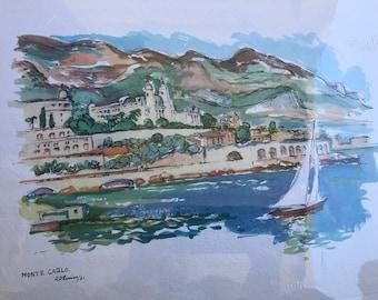 Vintage Monte Carlo Print. Monte Carlo. Vintage Print. 1951 Monte Carlo Print. Beautiful Monte Carlo.