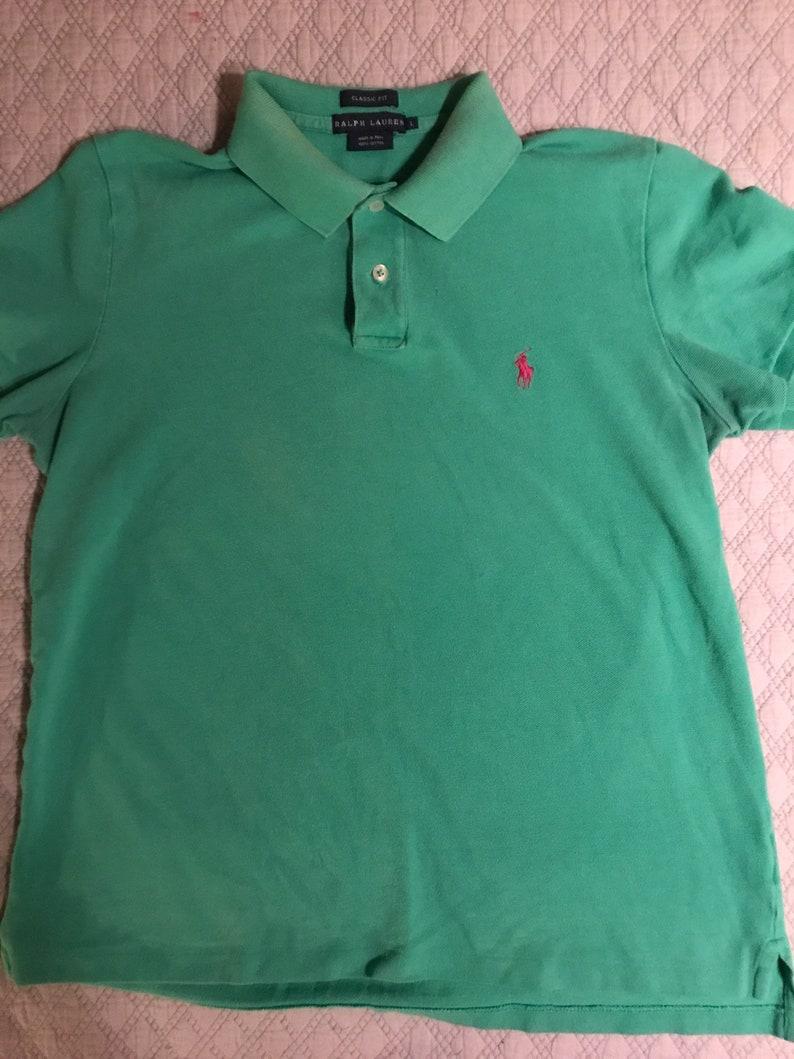 fd9bd8c95 Vintage Ralph Lauren Green Polo Shirt. Green Polo Shirt. Ralph | Etsy