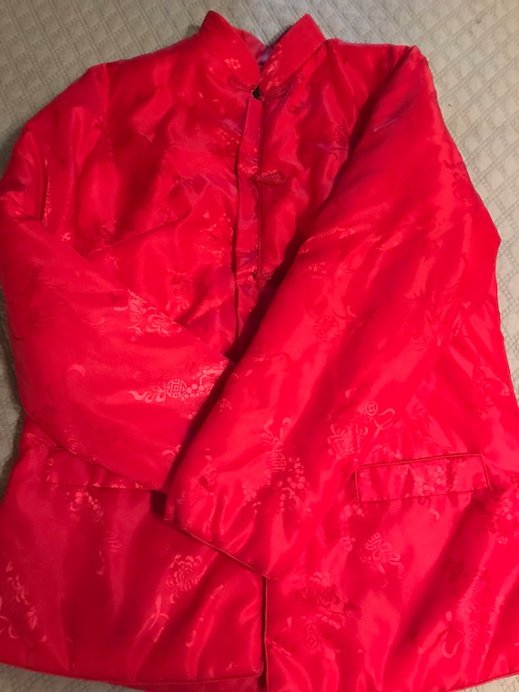 Vintage Red Asian Satin Jacket. Satin Jacket. Asi… - image 4