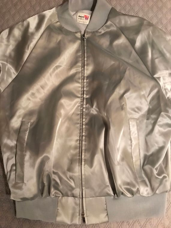 Vintage Satin Baseball Jacket. Silver Satin Baseb… - image 1