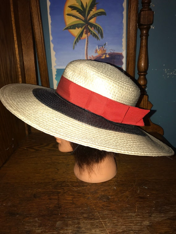 Vintage Red, White and Blue Hat. Straw Summer Hat… - image 3