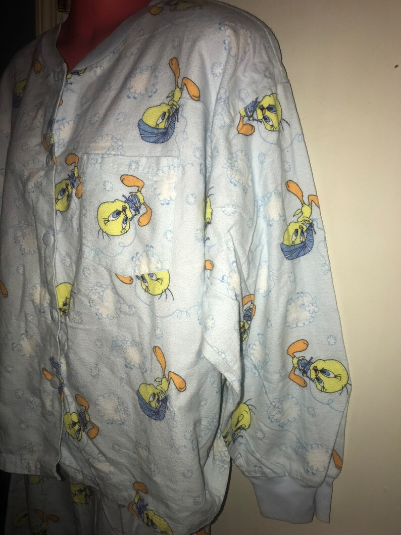 Tweety Bird Looney Tunes Flannel Pajamas 1990/'s Sleepy Tweety Bird Looney Tunes Pajamas Size LargeX-Large Vintage Looney Tunes Pajamas