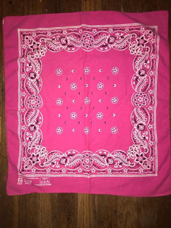 Vintage Pink Bandana. Bright Pink Bandana. Vintage