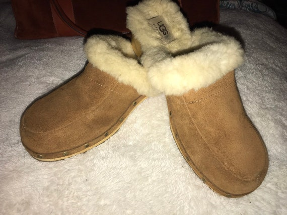 Vintage Furry Ugg Wooden Clogs. Ugg Clogs. Wood Ug