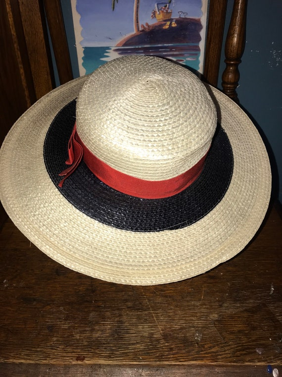 Vintage Red, White and Blue Hat. Straw Summer Hat… - image 4