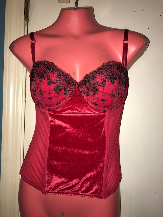 Vintage Lace Corset Lingerie. Black and Red Velve… - image 1