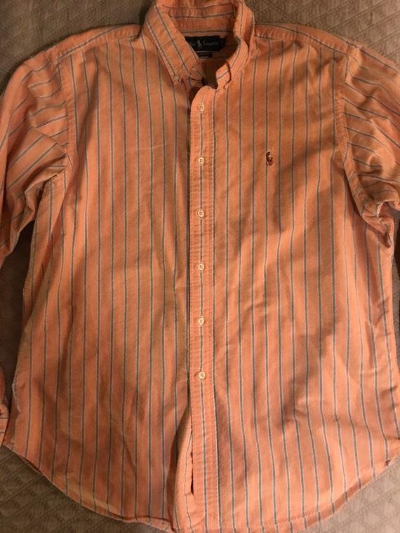 Vintage Ralph Lauren Button Down Shirt. Orange Ral