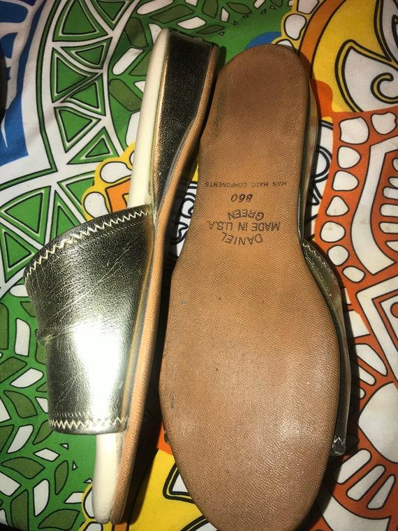 Vintage Silver Daniel Green Slippers. Metallic Si… - image 8