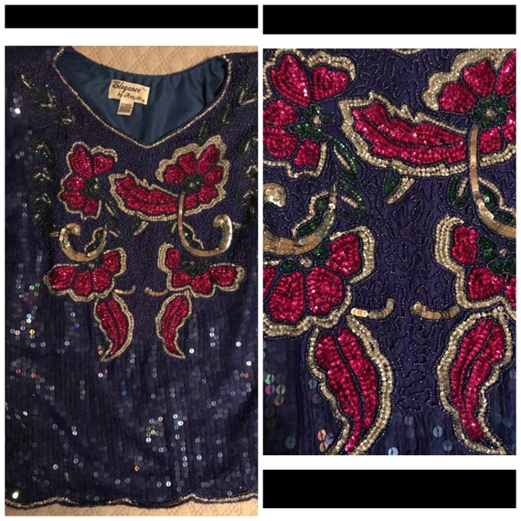 Vintage Sequin Shirt . Sequin Shirt. Vintage Blue