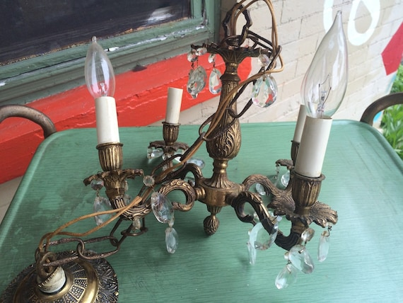 - Vintage Brass Chandelier. Crystal And Brass Chandelier. Spain.