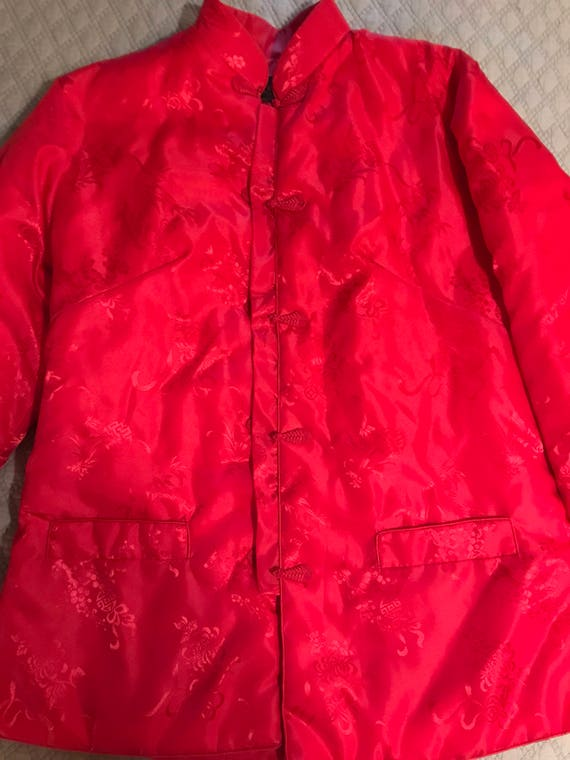 Vintage Red Asian Satin Jacket. Satin Jacket. Asi… - image 1