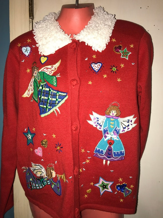 Ugly Christmas Sweater. Vintage Ugly Red Angel Swe