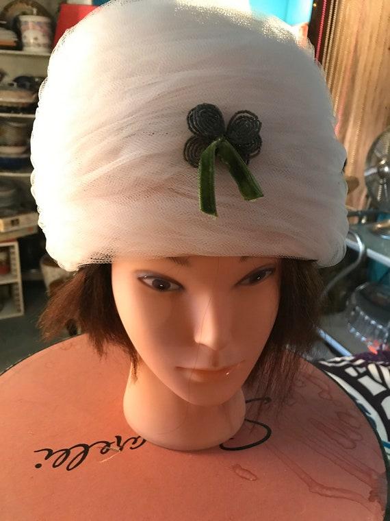 Vintage Elsa Schiaparelli Hat and Hat Box. Light P