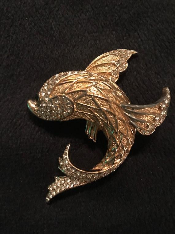 Vintage Ciner Brooch. Ciner Fish Brooch. Fish Broo