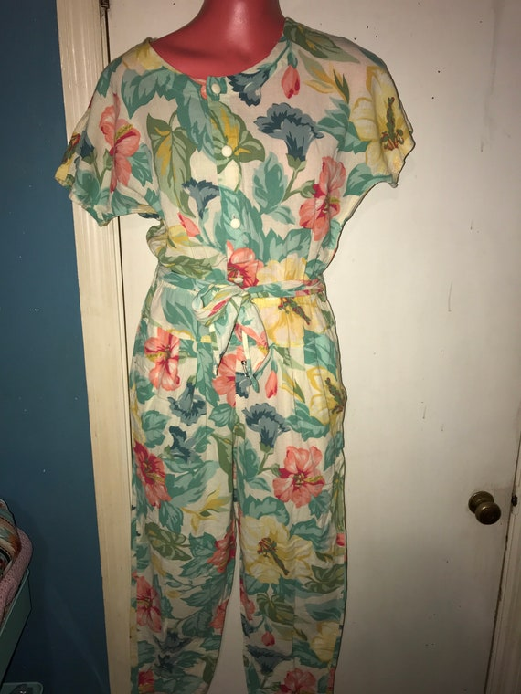 Vintage Hawaiian Print Liz Wear Jumpsuit. Women's