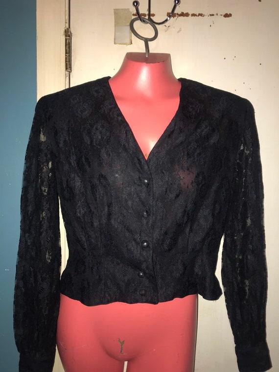 Vintage Black Lace Chaus Blouse. 90's Black Lace S