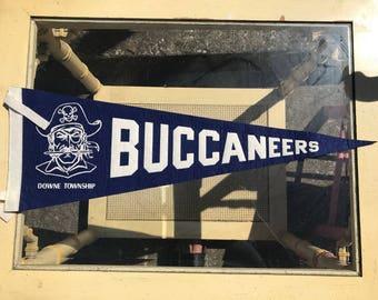 Vintage Pennant. Vintage Buccaneers Pennant. Blue and White Pennant.