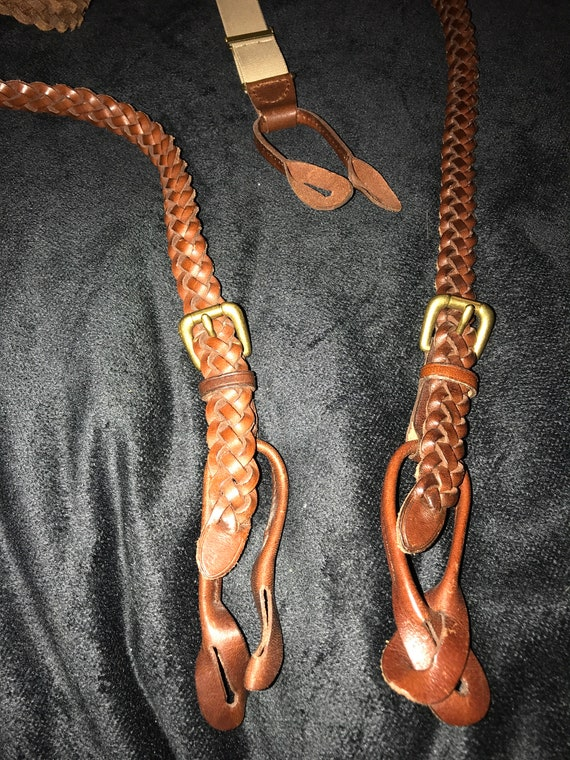 Vintage Braided Leather Suspenders. Leather Suspen