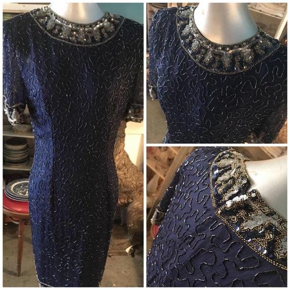 Vintage Laurence Kazar Beaded Dress. Beaded Sequin