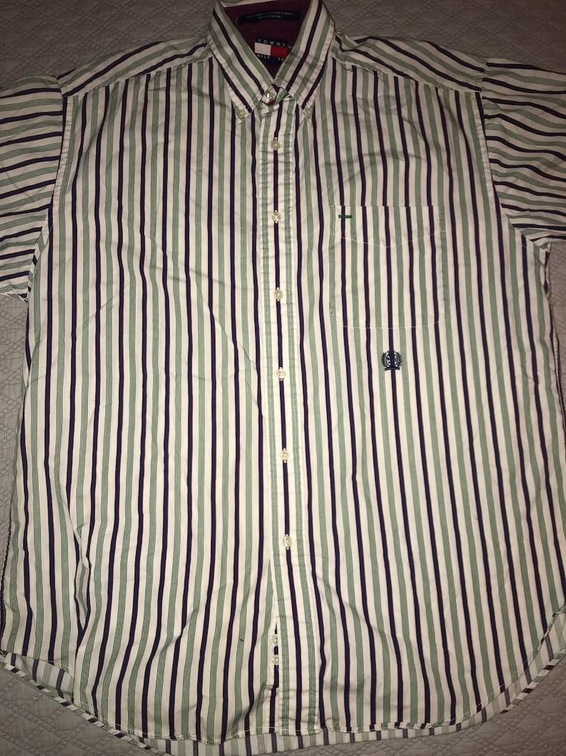 906ddeac Vintage Tommy Hilfiger Shirt. White Striped Mens Tommy   Etsy