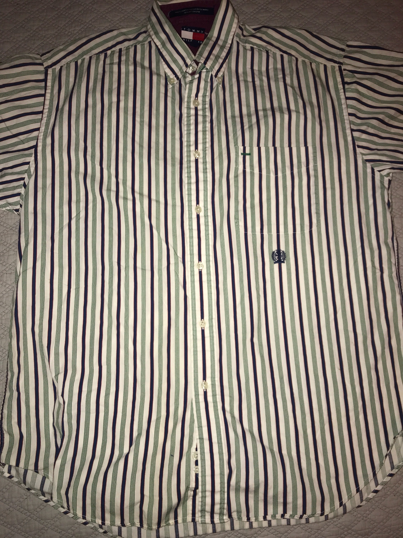 906ddeac Vintage Tommy Hilfiger Shirt. White Striped Mens Tommy | Etsy