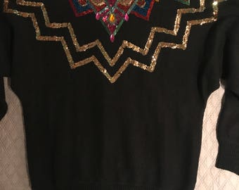 Vintage 80's Sweater. Sweater. Vintage Sweater. Black 1980's Sweater. Black Beaded Sweater. Sequin Sweater. Size Medium.