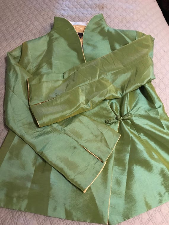 Vintage Green Asian Satin Jacket. Satin Jacket. A… - image 3