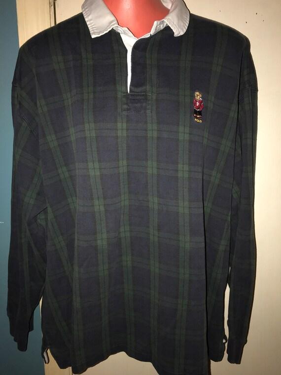Ralph Lauren Polo Bear Plaid Pullover Shirt. Vinta