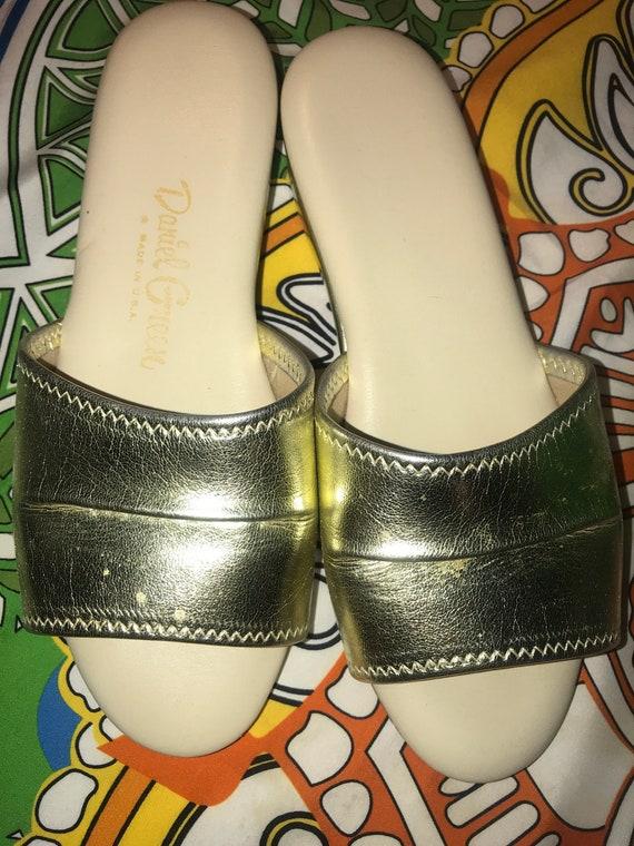 Vintage Silver Daniel Green Slippers. Metallic Si… - image 9