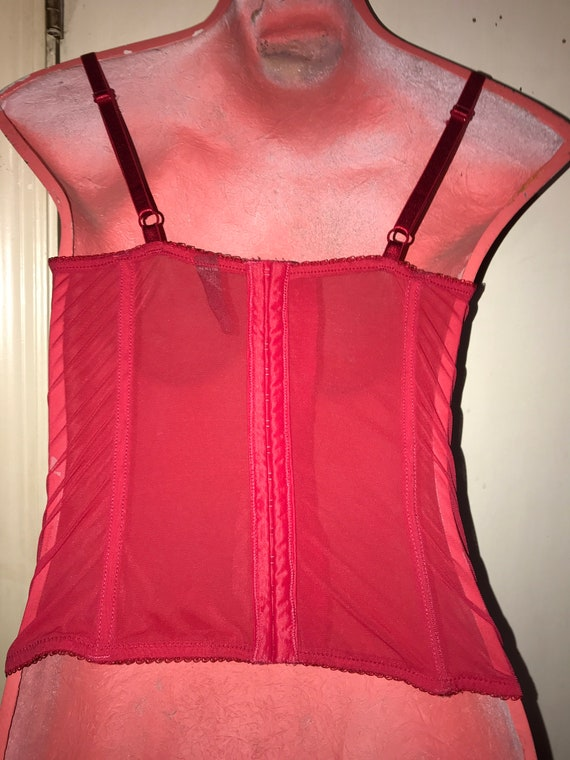 Vintage Lace Corset Lingerie. Black and Red Velve… - image 5
