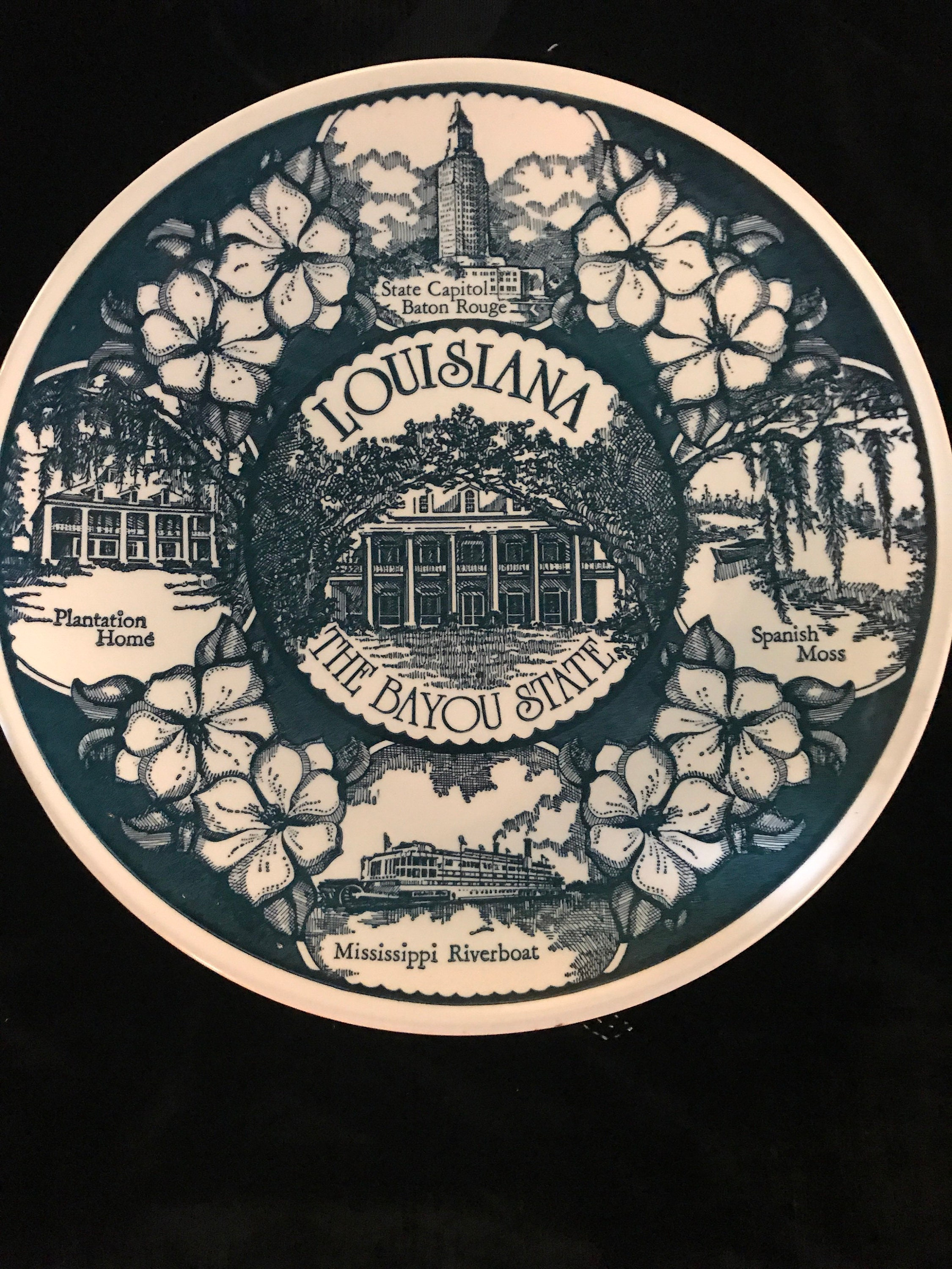 Vintage Louisiana State Plate Vintage Plate Blue and White