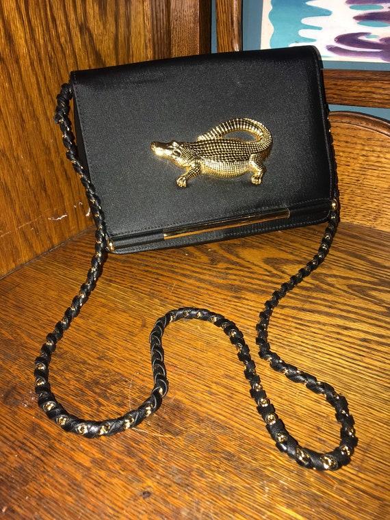 Vintage Black Purse With Gold Alligator Hardware.