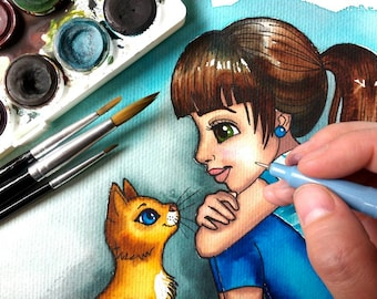 The Girl and her Cat A4 watercolor illustration by Kate Holloman