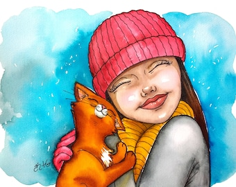 The Girl and her Cat #2 on A4 watercolor illustration by Kate Holloman