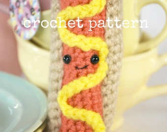 Crochet Pattern- amigurumi hot dog-crochet hot dog pattern-amigurumi food-crochet weenie-crochet food-easy crochet food pattern-