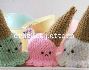 CROCHET PATTERN-Dropped Ice Cream Cone