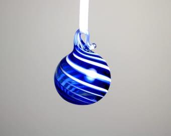 miniature blue swirl blown glass ornament