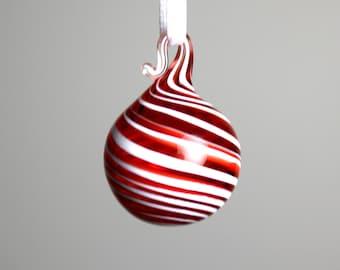 miniature red swirl blown glass ornament