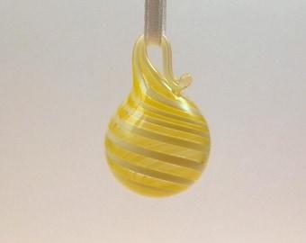miniature yellow swirl blown glass ornament