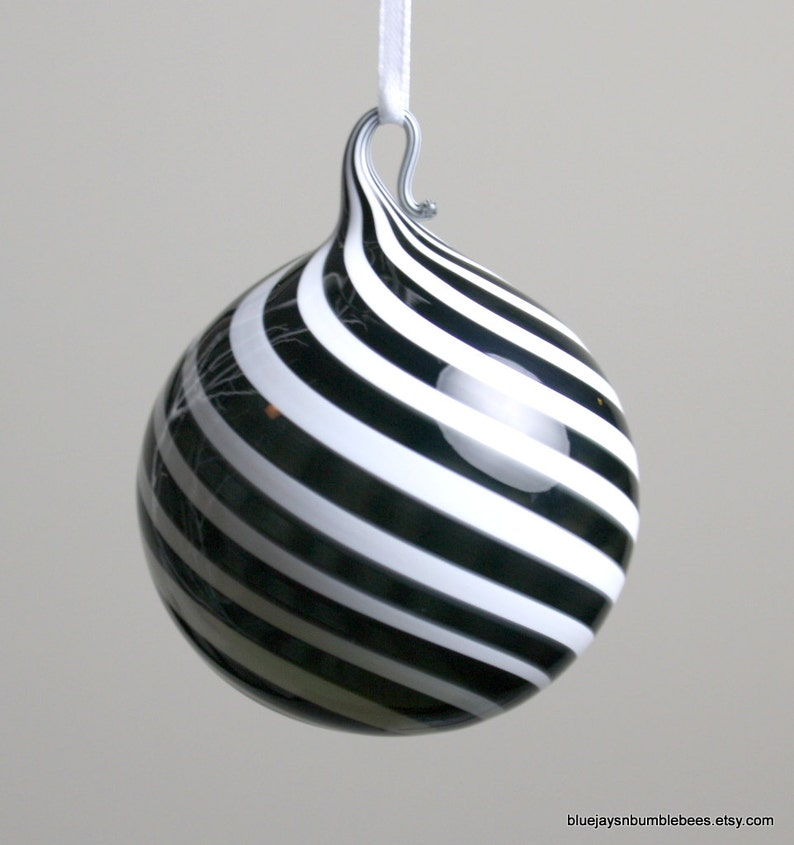 black and white swirl blown glass ornament image 0