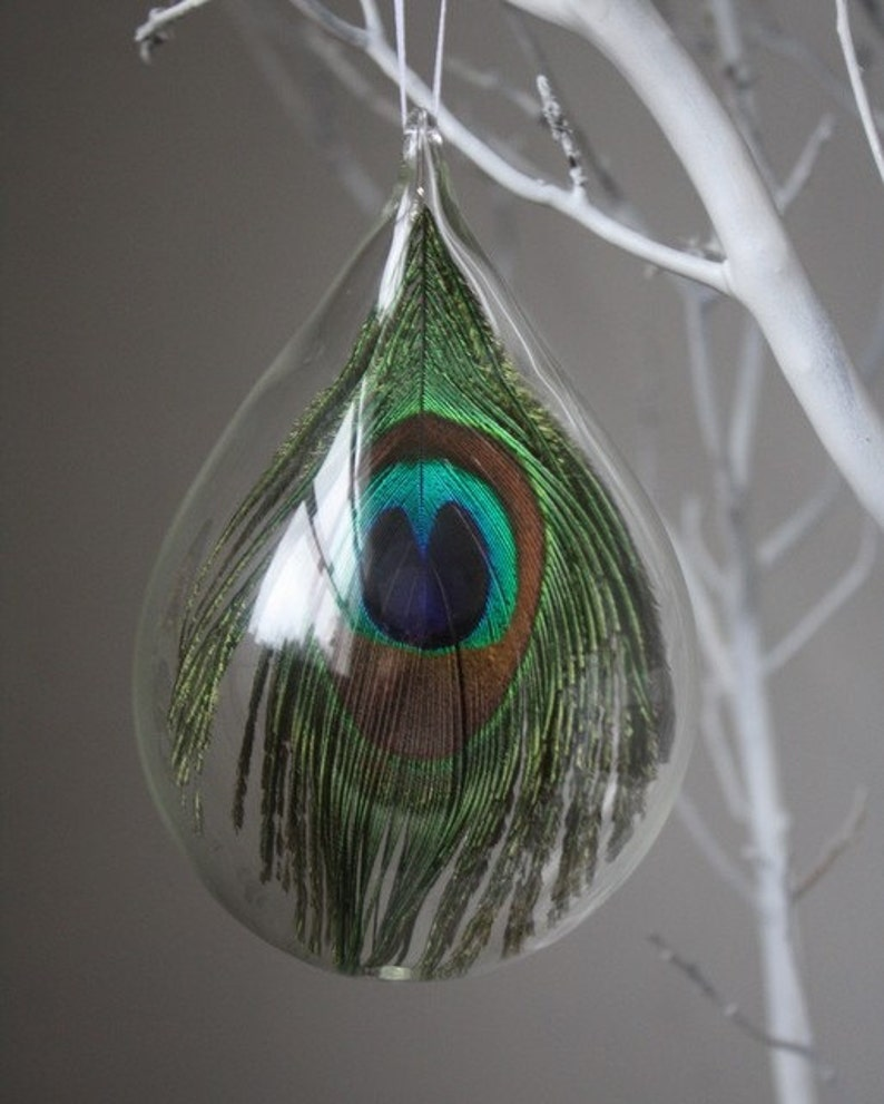 hand blown glass peacock ornament image 0